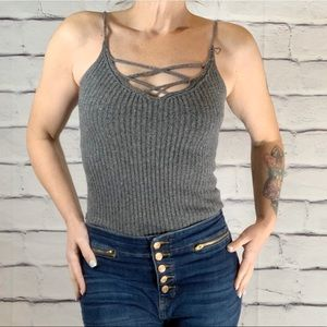 {American Eagle} Cross front sweater tank top